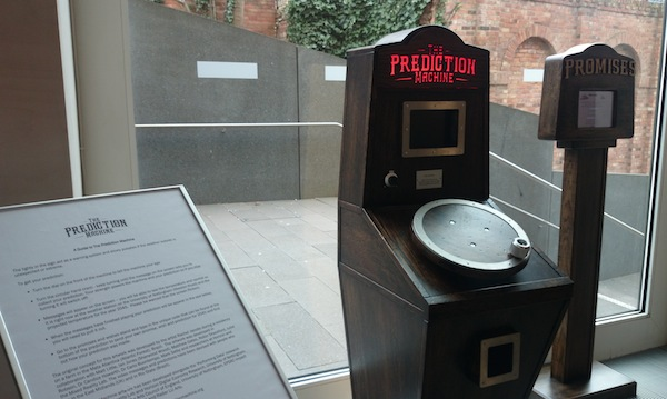 The Prediction Machine and Promises Machines by the window at Nottingham Contemporary
