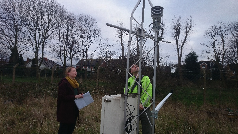jo and matt at the weather station, Loughborough University