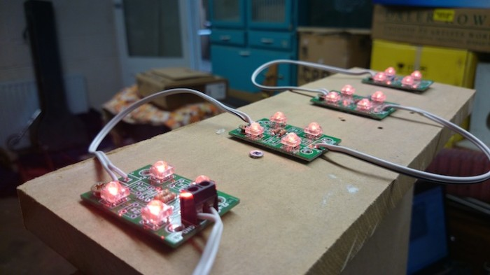 lights for the sign controlled by temperature data