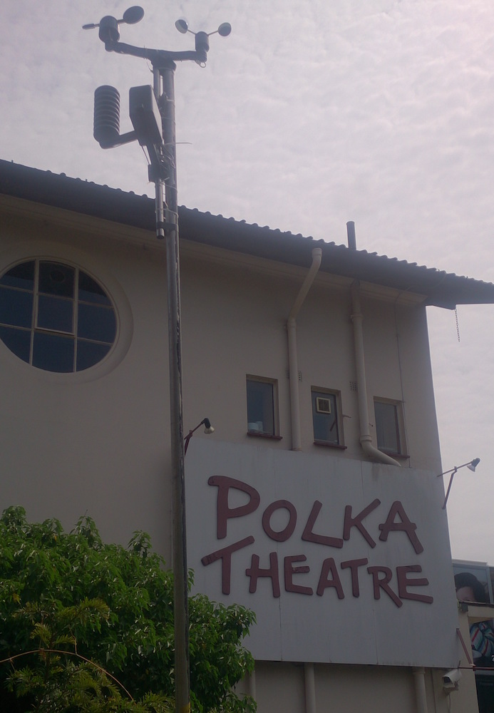 weather sensors (temperature, wind, rain) on a pole outside the Polka Theatre